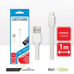 CABLE CHARGE iPhone8/7/6/5 1m BLANC+ eco part 0.02€